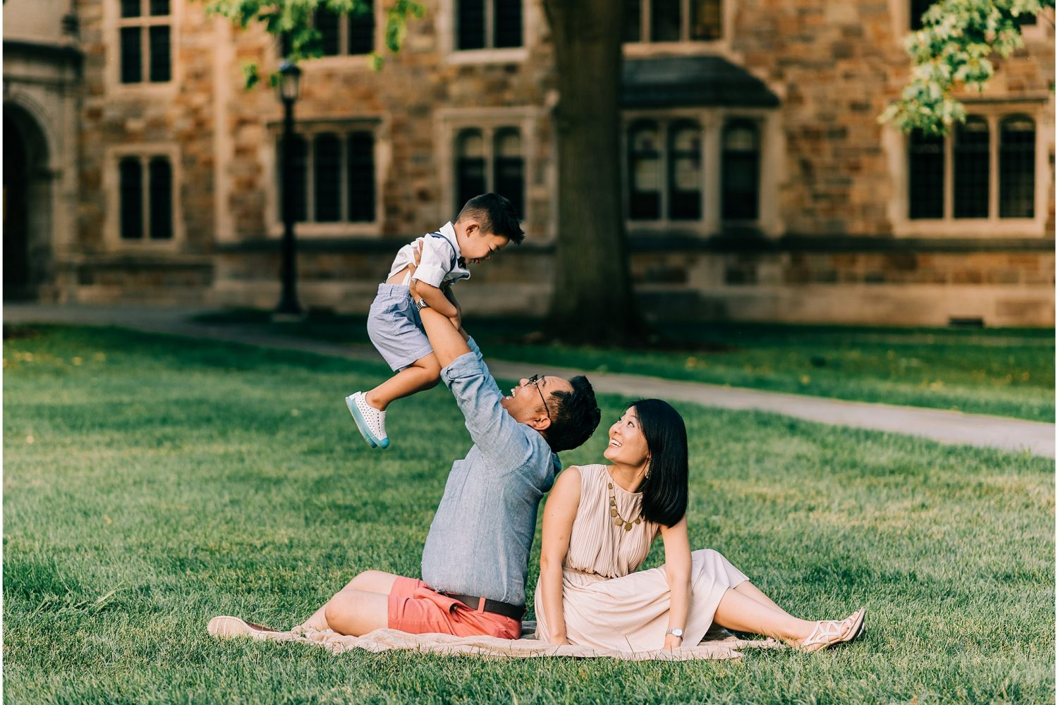 Family of three at The Quad, University of Michigan